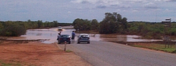 Not always dry - the main road after Cycline Steve - March 2000